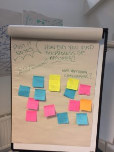 Post it note session at the New Vocies networking day